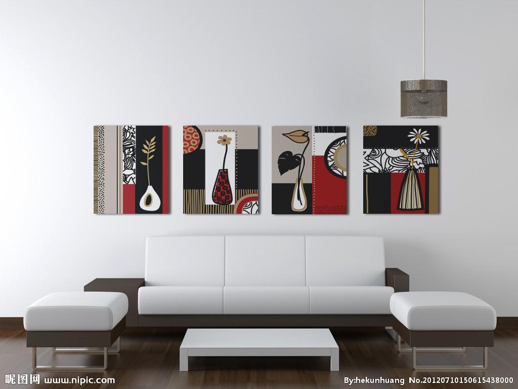 欧式抽象花瓶客厅装饰画沙发背景墙无框画现代简约挂