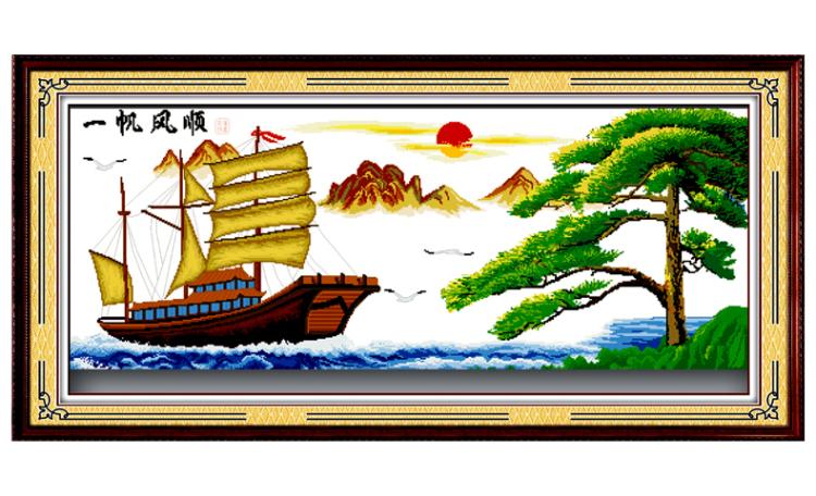 A KS十字绣100精准印花一帆风顺船版十字绣大幅最新款客厅风景大图片