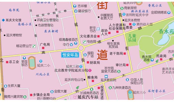 北京郊区县旅游地图系列 延庆县交通旅游图