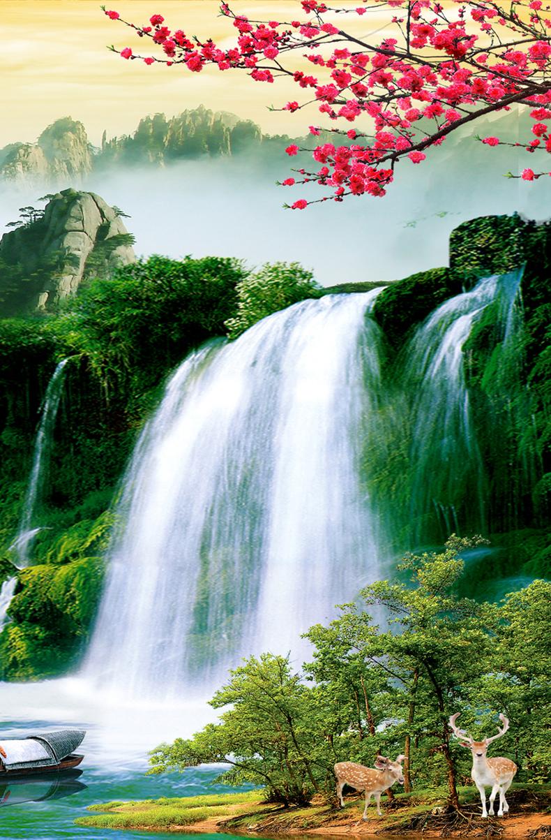 壁纸 风景 国画 旅游 瀑布 山水 桌面 790_1203 竖版 竖屏 手机