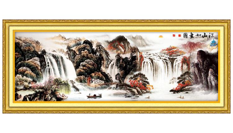 胤皇室蒙娜丽莎十字绣正品专卖最新款财源滚滚江山如画十字绣风景图片