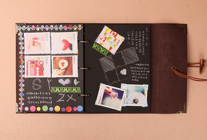 仿皮带锁diy相册手工制作影集粘贴式创意生日礼物品情侣宝宝 皮质相册