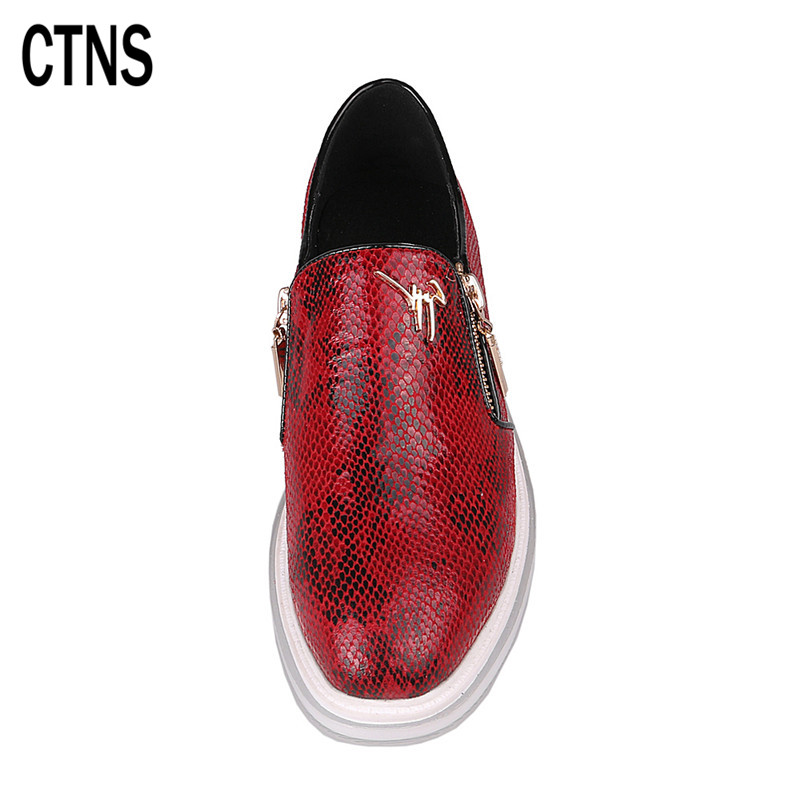 ctns 女鞋蛇皮纹女单鞋圆头套脚运动鞋侧拉链平底板鞋