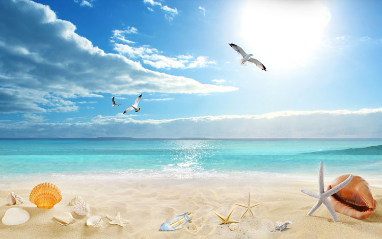 科卡蓝色地中海背景墙3d壁纸墙纸 蓝天白云沙滩风景简约现代壁布 影视