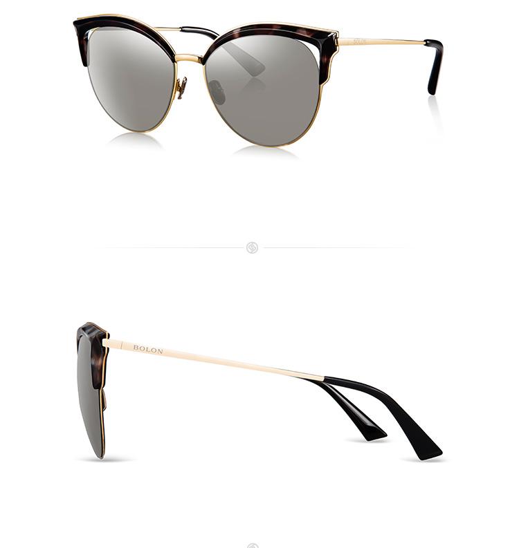 暴龙眼镜女偏光太阳镜 2017安妮海瑟薇明星款猫眼墨镜 经典蛤蟆镜 BL6029 C10-紫灰色