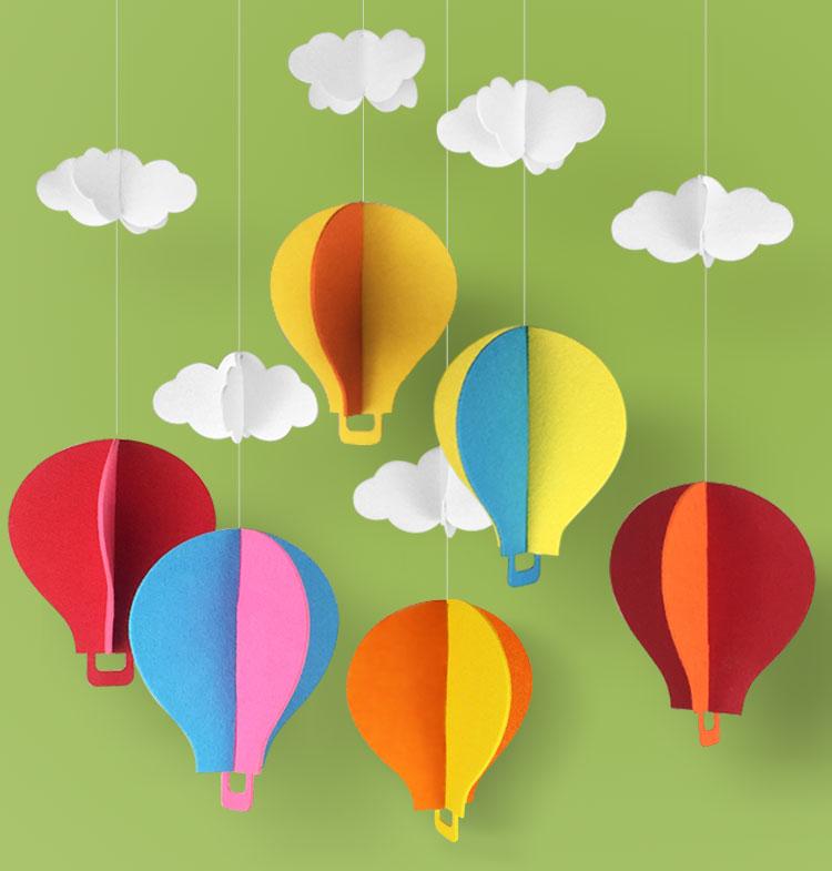 幼儿园挂饰教室走廊吊饰白云热气球雨伞雨滴商铺布置橱窗装饰吊饰 热
