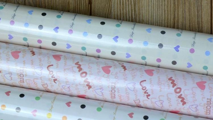居梦坞 情人节礼物包装纸 防水礼品包装纸 包书纸52*75CM 七夕节 防水9155