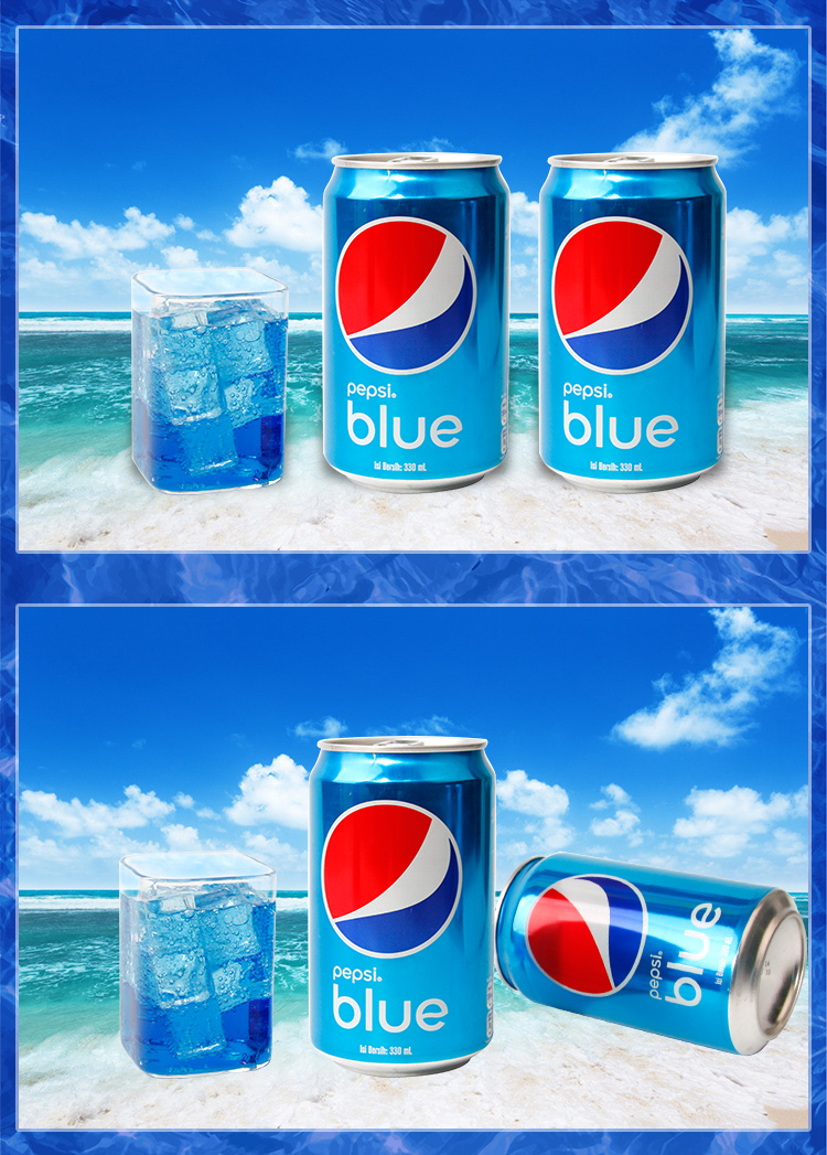 印度尼西亚进口百事蓝色可乐巴厘岛海水蓝pepsiblue饮料易拉罐330ml*24/组