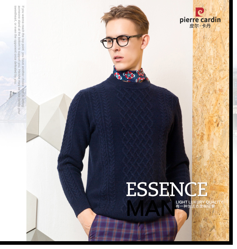 Áo len lông cừu nam Pierre Cardin 2017 180XL70 80KG WA86038 - ảnh 1