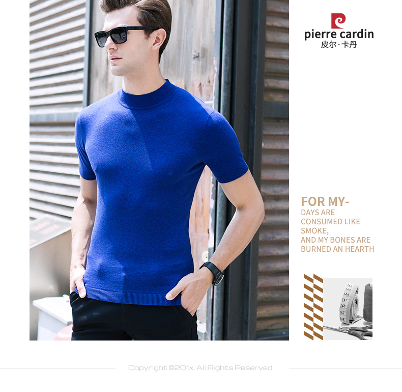Áo phông không cổ nam Pierre Cardin 100 180 BB7827 - ảnh 2