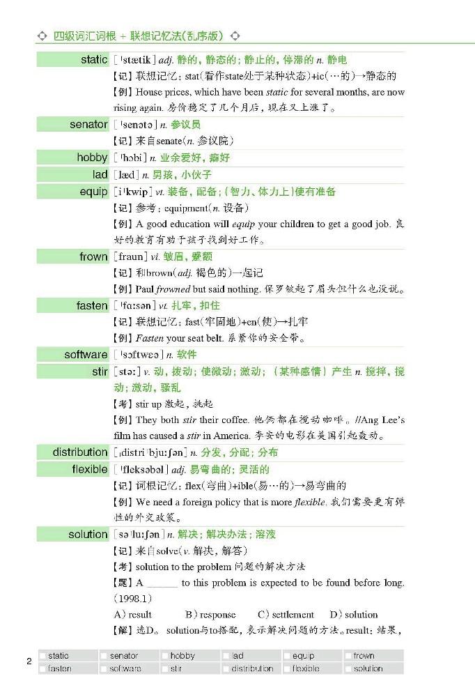 新四级词汇词根+联想 记忆法 英语听力 list 大耳 大耳朵英语