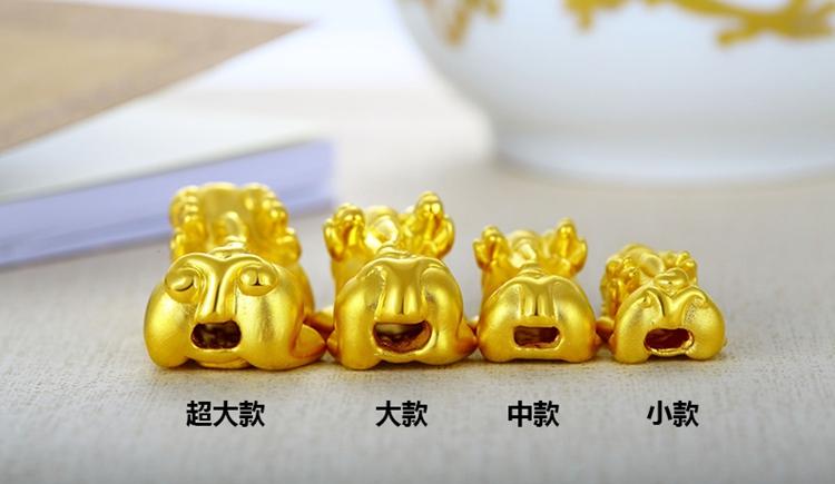 D硬金招财黄金貔貅手链男女款千足金转运珠手串3.3g配12mm珠