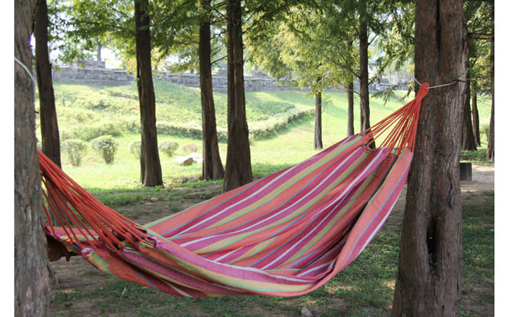 Professional custom canvas hammock outdoor hammock double hammock indoor outdoor leisure striped hammock swing 999