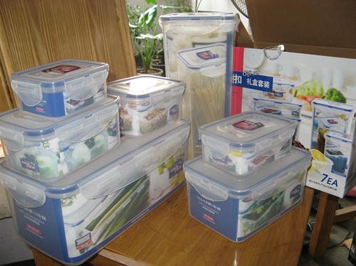 正品Lock&Lock乐扣乐扣普通型保鲜盒7件套HPL848S001,59.9元包邮