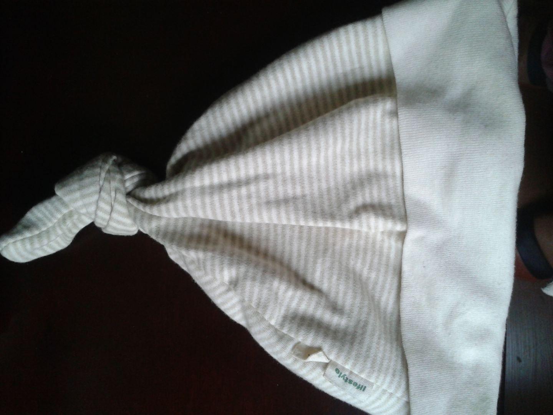 樂桃和家 有機棉兒童帽子雙層寶寶揪揪帽 嬰兒純棉帽子春秋季嬰兒帽 綠白 L(1歲-3歲) 實拍圖