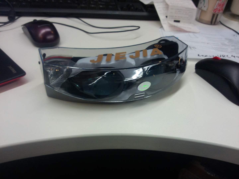 捷佳近視泳鏡 游泳眼鏡 防水防霧 黑色平光 實拍圖