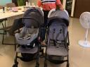 安哥拉兔(NGLATOO)双胞胎婴儿推车可拆分可坐可躺可折叠大小孩双人龙凤胎多功能提篮三合一手推车 黑架灰提篮款7代