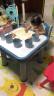 【高低档可调】可优比宝宝书桌儿童桌椅套装幼儿园塑料学习桌写字桌游戏桌小凳子家用 凝蓝色【1桌2椅】