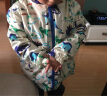 貝殼家族男童裝卡通外套 秋裝新款男童連帽拉鏈沖鋒衣7259 米白色恐龍 130碼 實拍圖