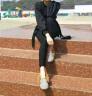 南極人外穿打底褲女2019春秋彈力小腳褲高腰顯瘦緊身休閑鉛筆褲子 黑色排扣922【秋薄款】 L99-112斤 實拍圖