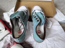 人本帆布鞋女厚底布鞋松糕跟小白鞋牛仔休閑鞋女百搭學生1992鞋子 淺蘭 38 實拍圖