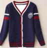 凯蕊士 童装男童开衫儿童毛衣宝宝针织衫中大童线衣外套男孩春装上衣 深蓝色 110cm