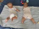 良良(liangliang) 嬰兒涼席 夏季亞麻嬰兒床苧麻幼兒園寶寶兒童加大涼席 藍色(涼席+新生兒多用枕單個裝) 125cm*74cm(大號) 實拍圖
