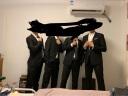 HAIPAIHAOYU 西服套裝男士修身商務正裝純色職業西裝黑色兩???黑色二扣 175上衣32褲子 實拍圖