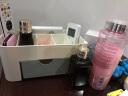 素色塑料桌面化妝盒帶小抽屜收納盒家用多功能首飾盒儲物盒 藍色 實拍圖
