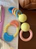 Hape婴儿玩具进口大米牙胶手摇铃沙铃套装可高温水洗0-1岁新生儿宝宝幼儿口腔清洁磨牙益智玩具礼盒装 牙胶摇铃握环3件套E0027