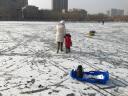 博沃尼克 加厚滑雪板成人兒童滑草板滑雪車滑沙板帶剎車 藍色熊貓 小號 實拍圖