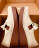 歐琦蔓坡跟小皮鞋女2019秋新款擦色牛皮鞋手工復古單鞋厚底74078 米色 37 實拍圖