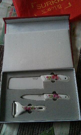 SURKR韩国进口陶瓷刀韩式刀具厨房用品套刀 菜刀 水果刀 刮皮刀3件套 多种 B款 晒单图