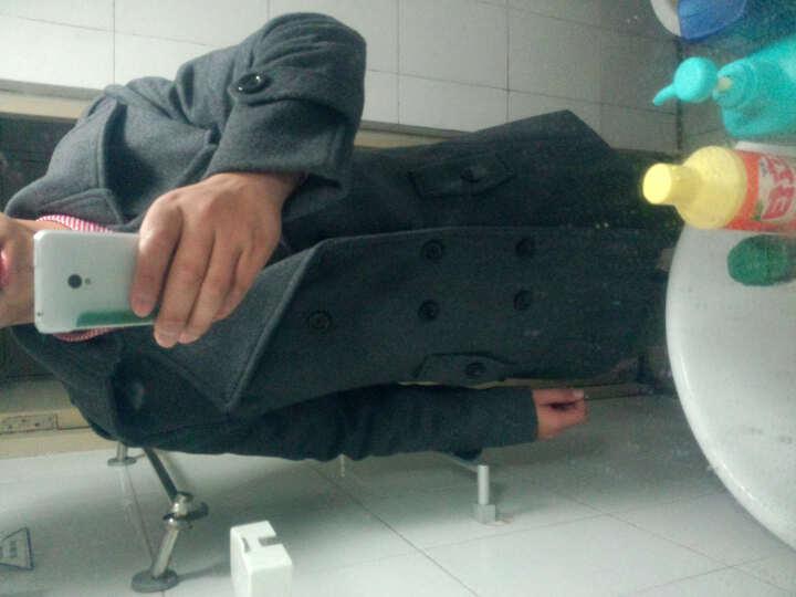 断码特价 竞帝(GNDNN) 男士加厚风衣 中长款双排扣羊毛呢外套 羊毛呢大衣男士OC82 深灰色 XL 晒单图