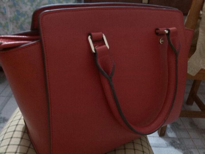 丹蒂雅时尚女包 简约牛皮女士包 手提单肩斜挎包DA1321 玫红&黑小号加钉 晒单图