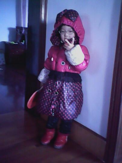 太阳雪人女童装羽绒服 甜美可爱儿童修身蝴蝶结波点女孩韩版冬装13010 黄 110码 晒单图