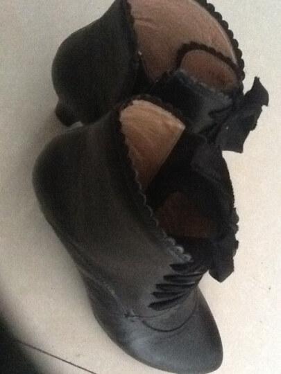belle/百丽冬季黑色小牛皮/啡色油蜡羊皮女皮靴3tz40
