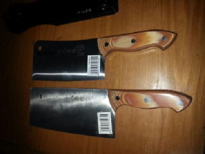 十八子作 -菜刀厨刀刀具竹顺复合三合钢刀精装配刀座 切片刀砍骨两把装 晒单图