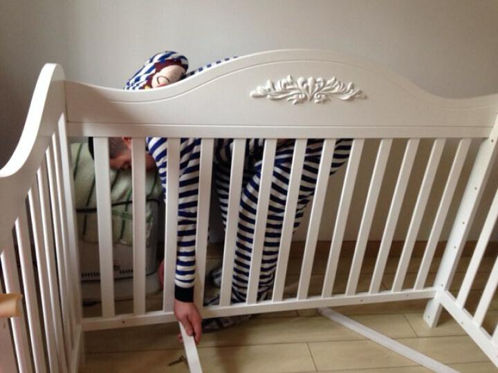 霖贝儿(Linbebe) 婴儿床实木多功能bb床新生儿床白色欧式宝宝床儿童童床拼接大床 A至尊+乳胶椰棕垫5cm 晒单图