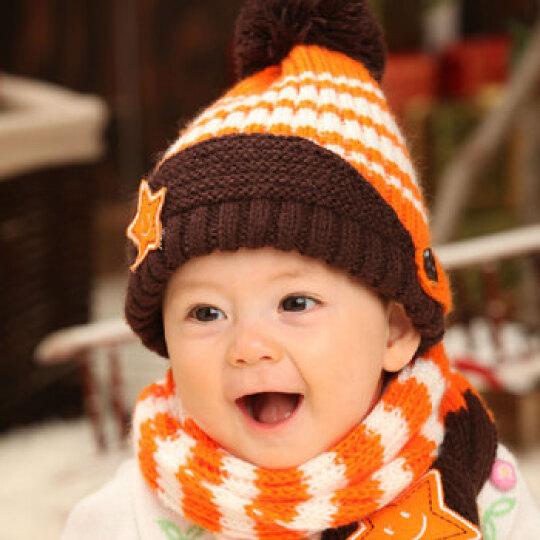 叶子宝宝 冬季保暖毛线帽加围巾 宝宝帽子 婴儿帽加围脖 雪人圣诞帽蓝色 晒单图