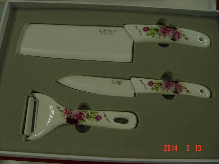SURKR韩国进口陶瓷刀韩式刀具厨房用品套刀 菜刀 水果刀 刮皮刀3件套 多种 F款花开富贵 晒单图