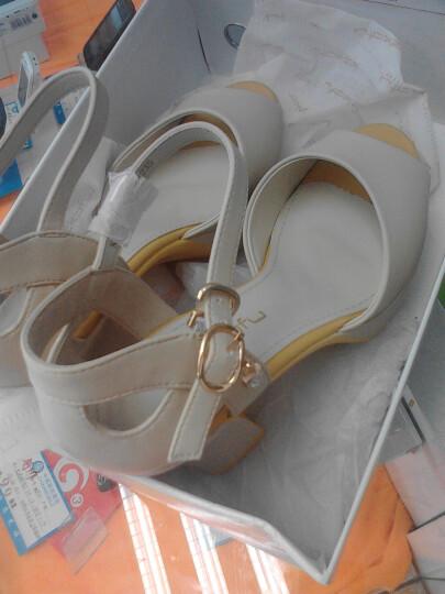 珂卡芙2014夏季新款简约高跟鱼嘴大包时尚水v高跟斜跨凉鞋图片