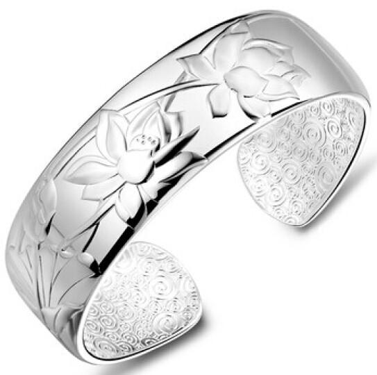 月老雨荷足银手镯女宽版时尚饰品银镯子手环 约46克 晒单图