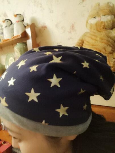 黛莎 帽子女秋冬季套头帽韩版时尚保暖头巾堆堆帽包头帽月子帽 蓝色 晒单图