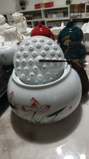 漫美 手绘茶叶罐大号陶瓷茶叶盒醒茶罐小号茶叶包装盒茶盒陶瓷罐茶叶桶茶叶包装袋瓷罐便携密封罐 荷塘鱼趣(大号) 晒单图