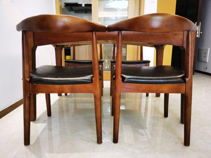 卡丽蒂 餐桌 大理石餐桌椅组合小户型实木饭桌 北欧火烧石 1.3米餐桌+6把实木餐椅(皮艺) 晒单图