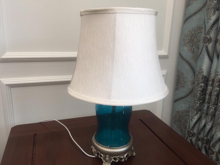 络曼(LUOMAN)地中海蓝色玻璃简欧式卧室台灯床头灯礼品礼物田园创意定制节日装饰灯 晒单图
