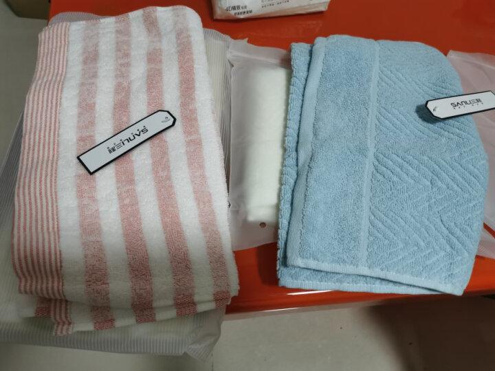 三利 毛巾家纺 纯棉彩格缎档毛巾3条装 34x74cm 柔软吸水面巾 每条均独立包装 晒单图