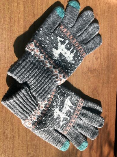 卡兰薇 触摸屏毛线手套男女冬季韩版情侣全指防滑手套骑车保暖加绒加厚 7016-灰色 晒单图