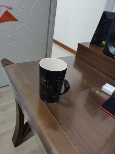 布丁瓷艺 创意十二星座马克杯牛奶杯陶瓷杯子男女士情侣水杯咖啡杯带盖勺 狮子座(黑) 晒单图